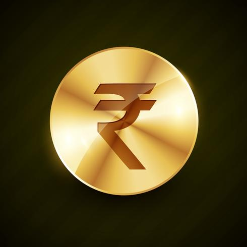 indian ruppe gold coin with shiny effects