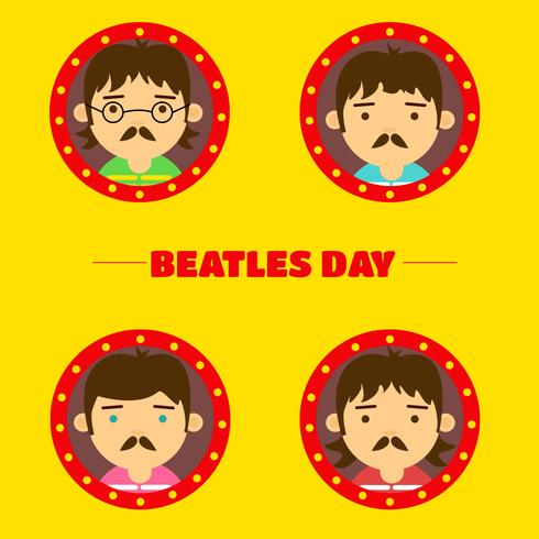 Cute Flat Beatles Character Background