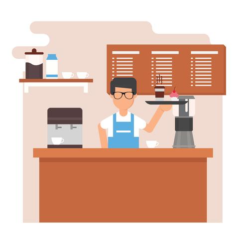 ung man barista vektor illustration