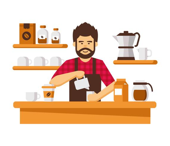 Cool baard Barista Vector