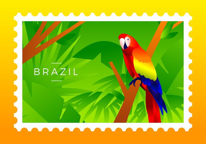 Brasilien-Briefmarke-Scharlachrot Macaw-Vogel-Vektor
