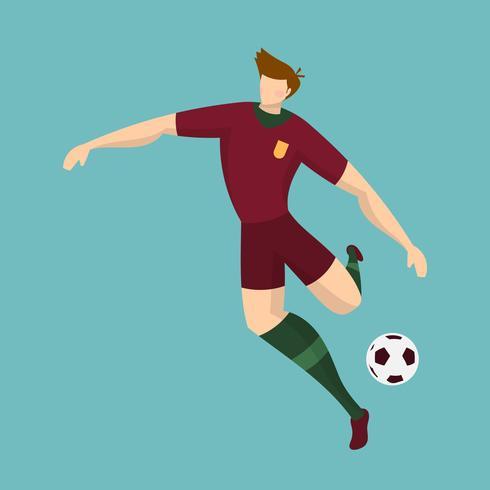 Flat Portugal Soccer Player Förbered dig att skjuta med Tosca Bakgrund Vector Illustration
