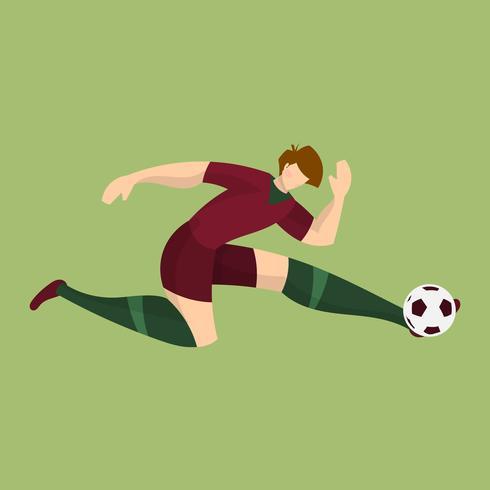 Flacher Portugal-Fußball-Spieler-Schießen-Ball mit grüner Hintergrund-Vektor-Illustration