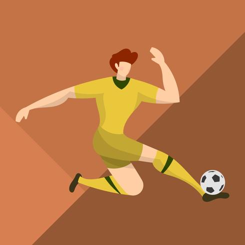 Flat Australia Soccer Player Catch a Ball with Abstract Background Vector Illustration