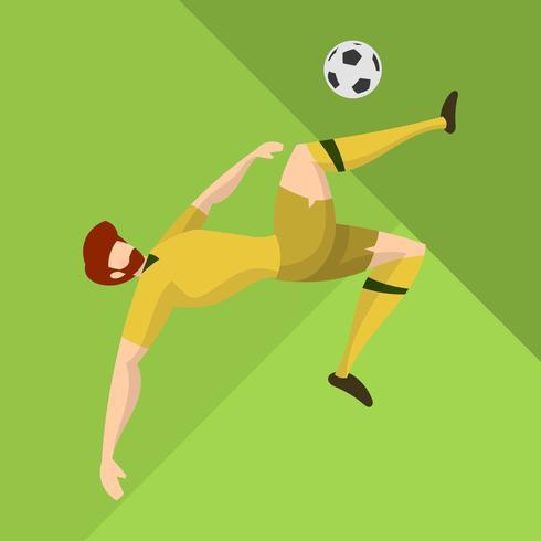Jugador de fútbol plano de Australia listo para disparar una bola con la ilustración de Vector de fondo abstracto