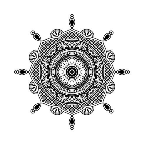 Henna Art Black And White Vector