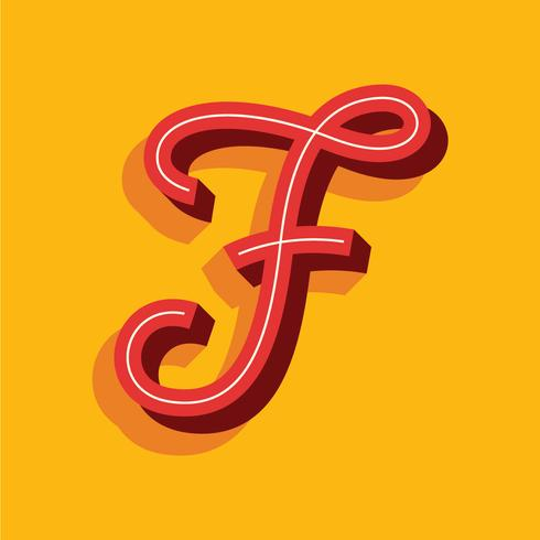 3D Retro Letter F Typography