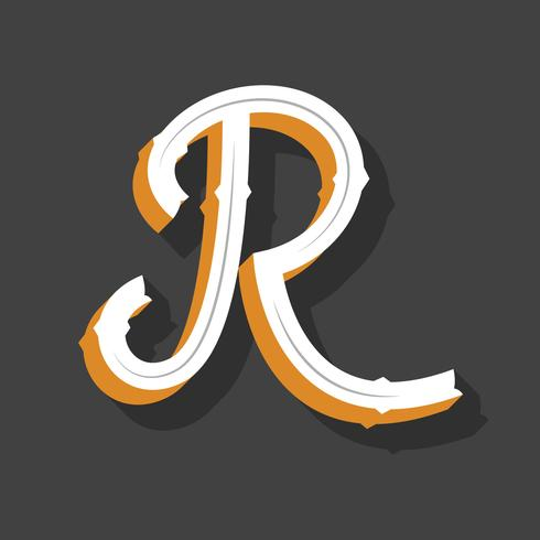 3D Retro Letter R Typography