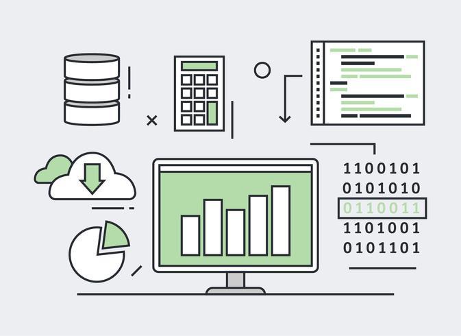 Illustration de ligne plate d'exploration de données
