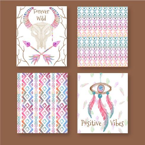 Conjunto de cartões de Boho aquarela bonito