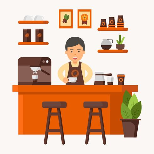 Barista at Coffee Shop Vector Illustration