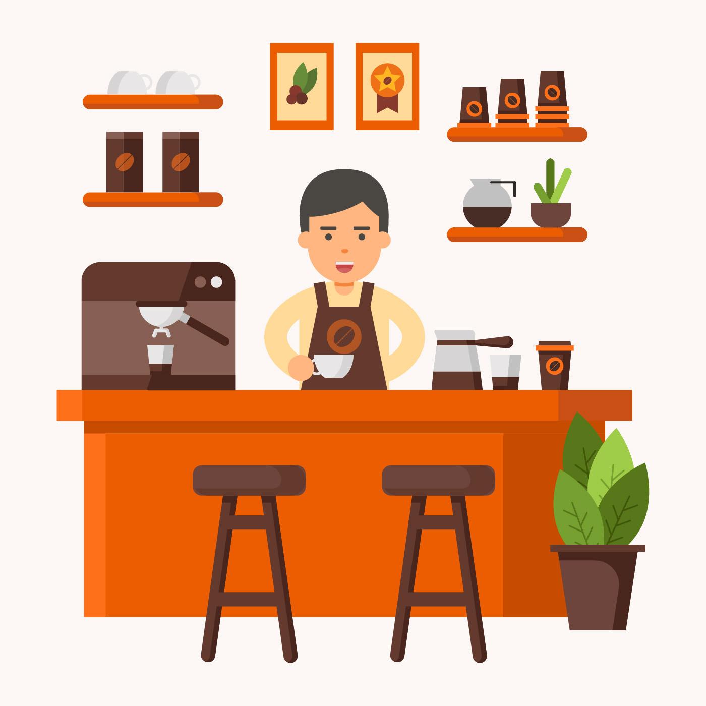 Barista at Coffee Shop Vector Illustration - Download Free ...