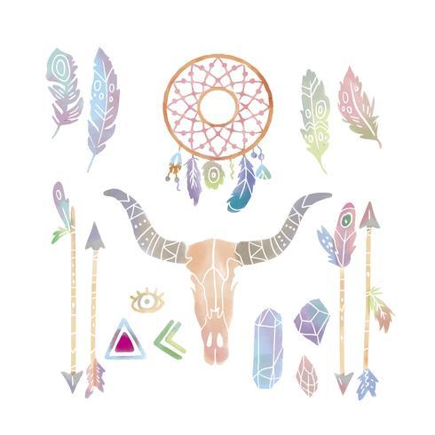 Conjunto de colección de acuarela linda Boho Elements