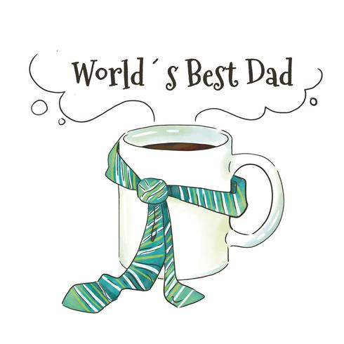 Cute Mug With Blue Tie To Father's Day vector