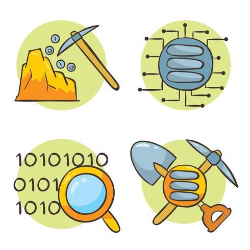 Vettore di Data Mining disegnato a mano