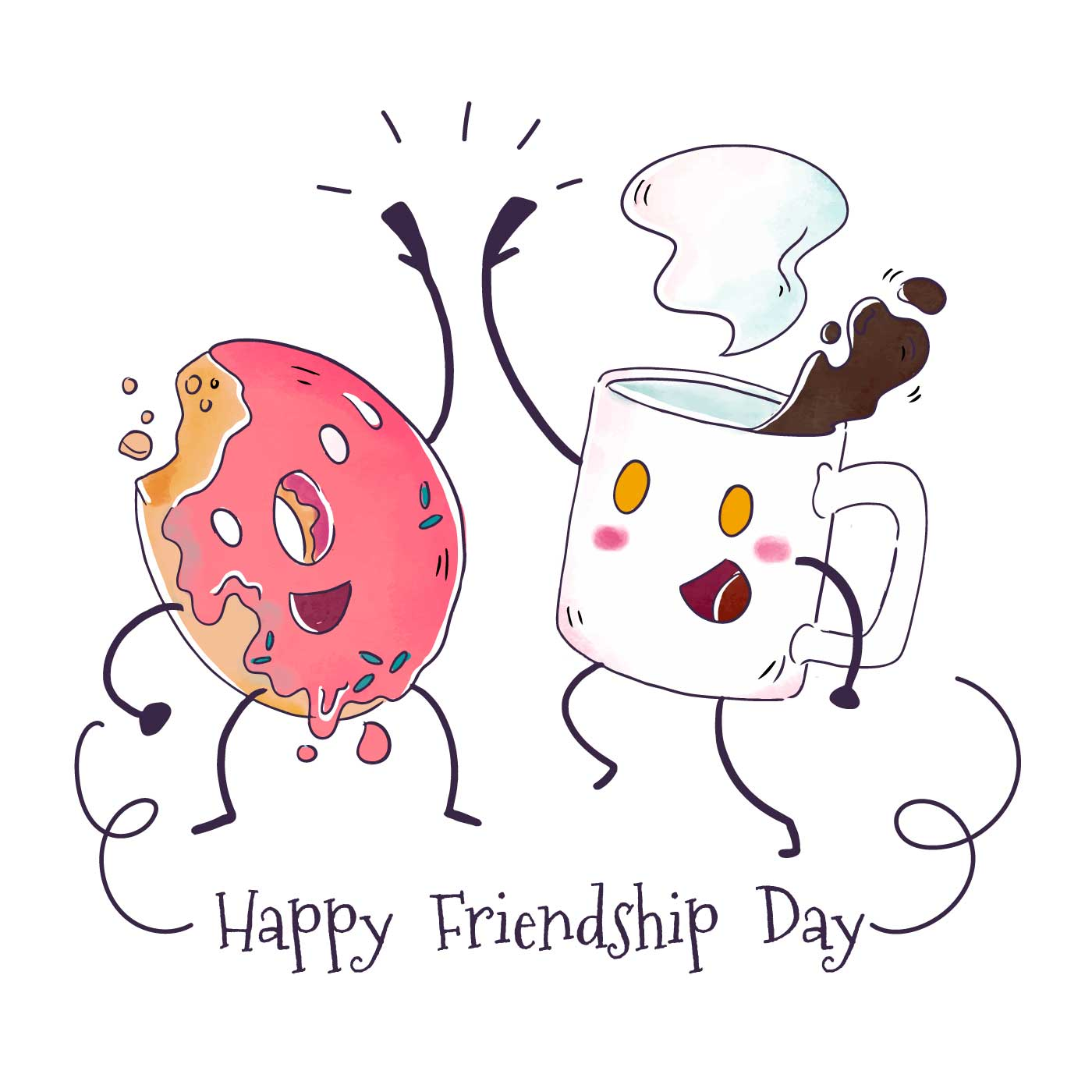 Cute Coffee Mug And Donut Character Playing To Friendship Day Download Free Vectors Clipart Graphics Vector Art