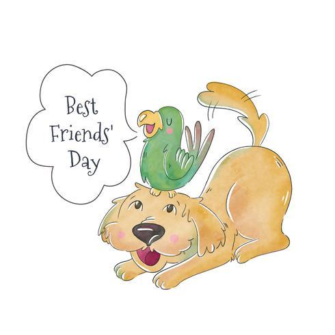 Lindo perro y loro verde con burbuja de discurso a la amistad