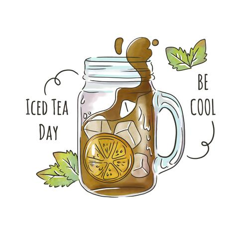 Gullig Iced Tea I Modernt Glas Med Löv Och Ornament