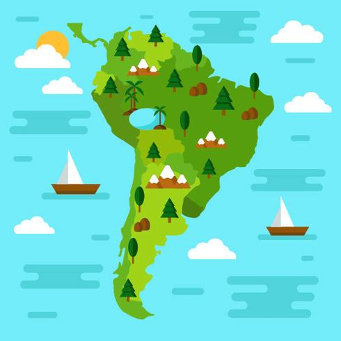 Karta över Sydamerika Vector