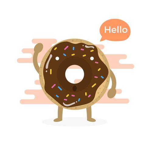 Personagem de donuts plana bonito com fundo moderno nuvem vetor