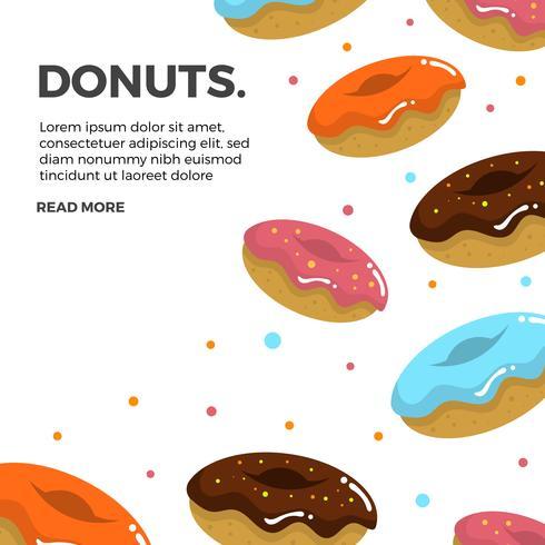 Vlakke Kleurrijke Dalende Donuts met Witte Vectorillustratie Als achtergrond