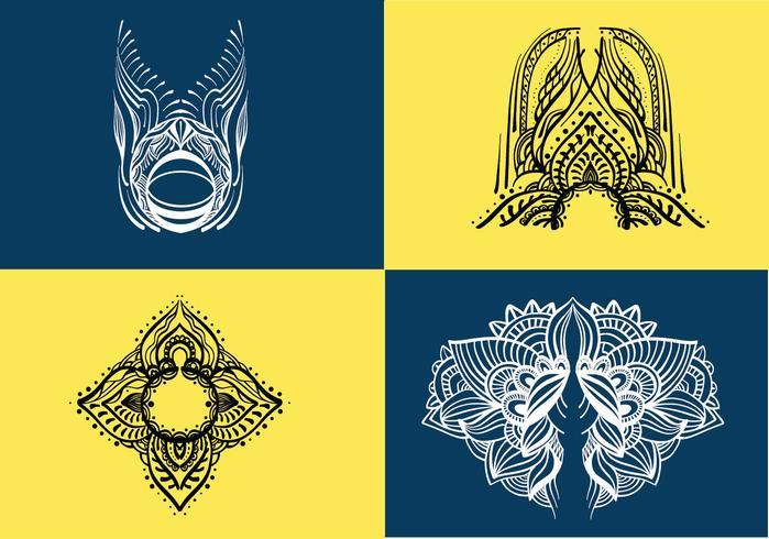 pacote de vetores de arte henna
