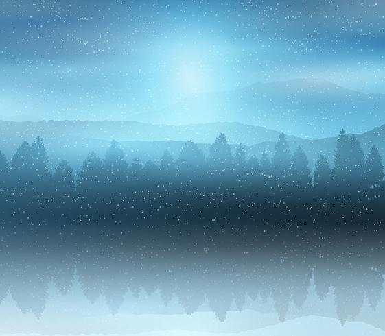 Winter forest landscape background