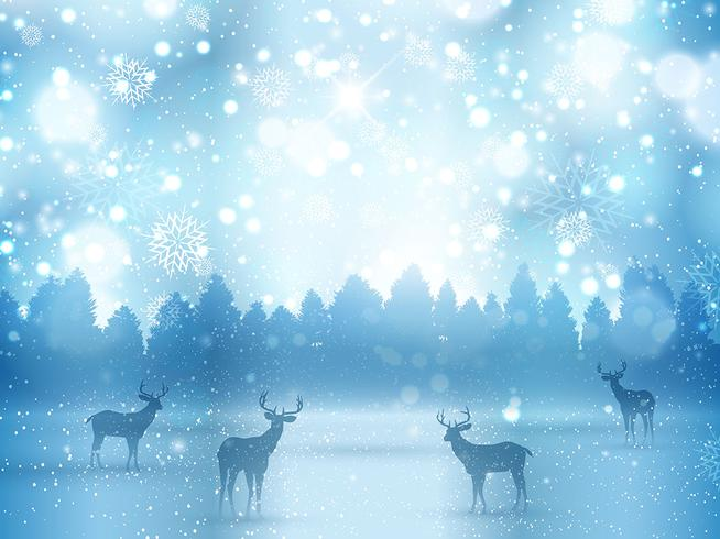 Winter landscape with deer