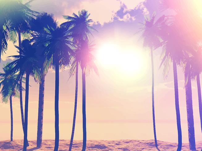 Summer retro palm trees
