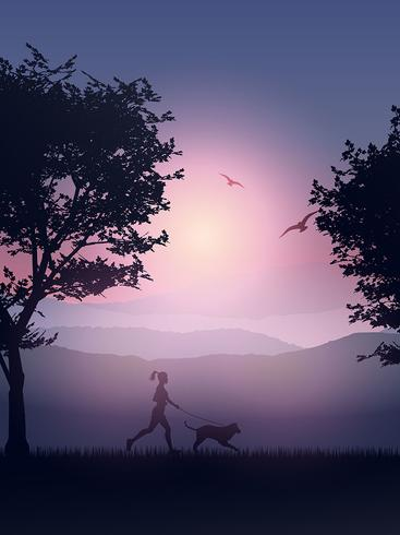 Female jogging in the coountryside with her dog