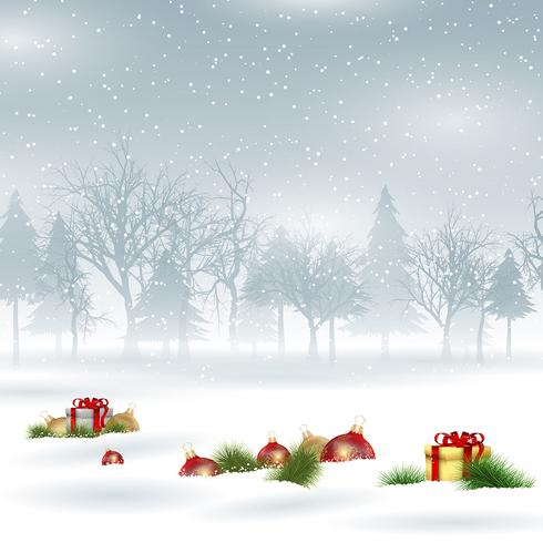 Christmas background with baubles and gifts