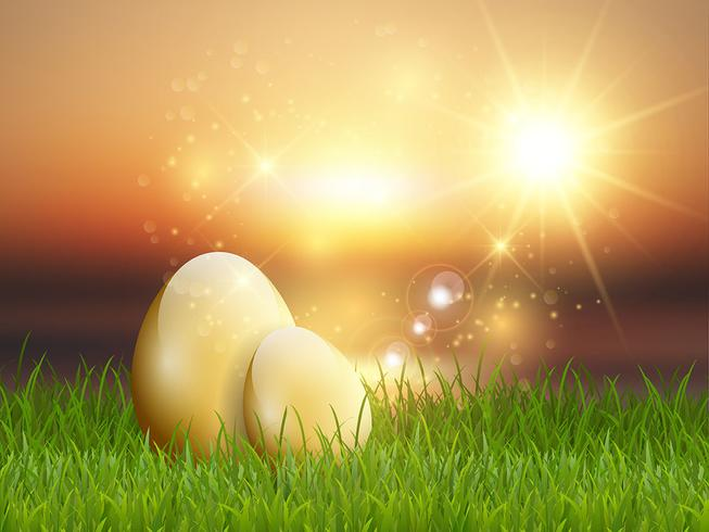 Golden Easter eggs in grass