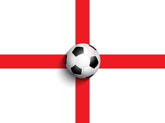 Football / soccer ball on england flag background