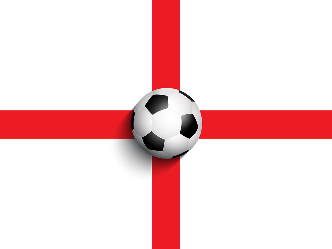 Sports Ball Vector Background Art Free Download: Football / Soccer Ball On England Flag Background
