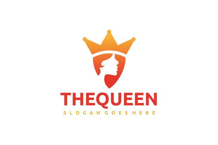 Logotipo da menina rainha vetor