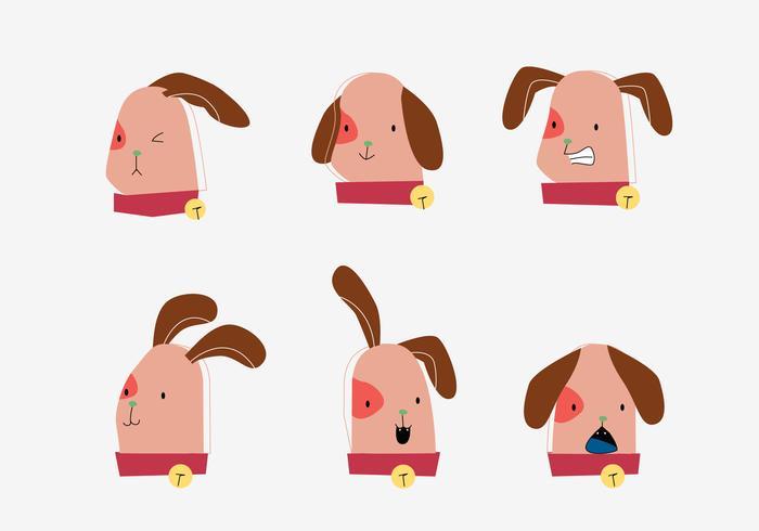 Cute Dog Puppy Head Emotion Illustration vectorielle plane
