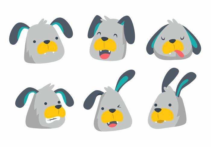 Illustration vectorielle de chien mignon tête émotion