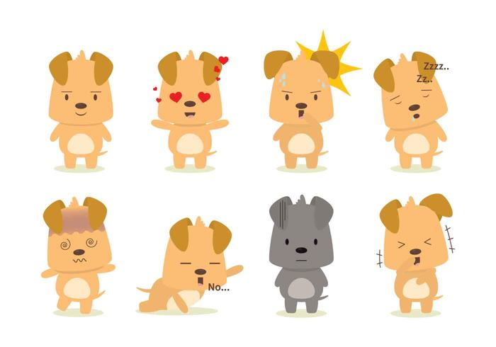 Various Dog Emotions Set Vector
