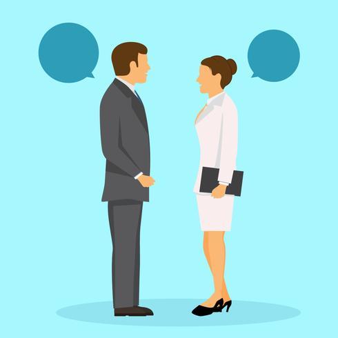 dos personas de negocios de pie y vector parlante descargue