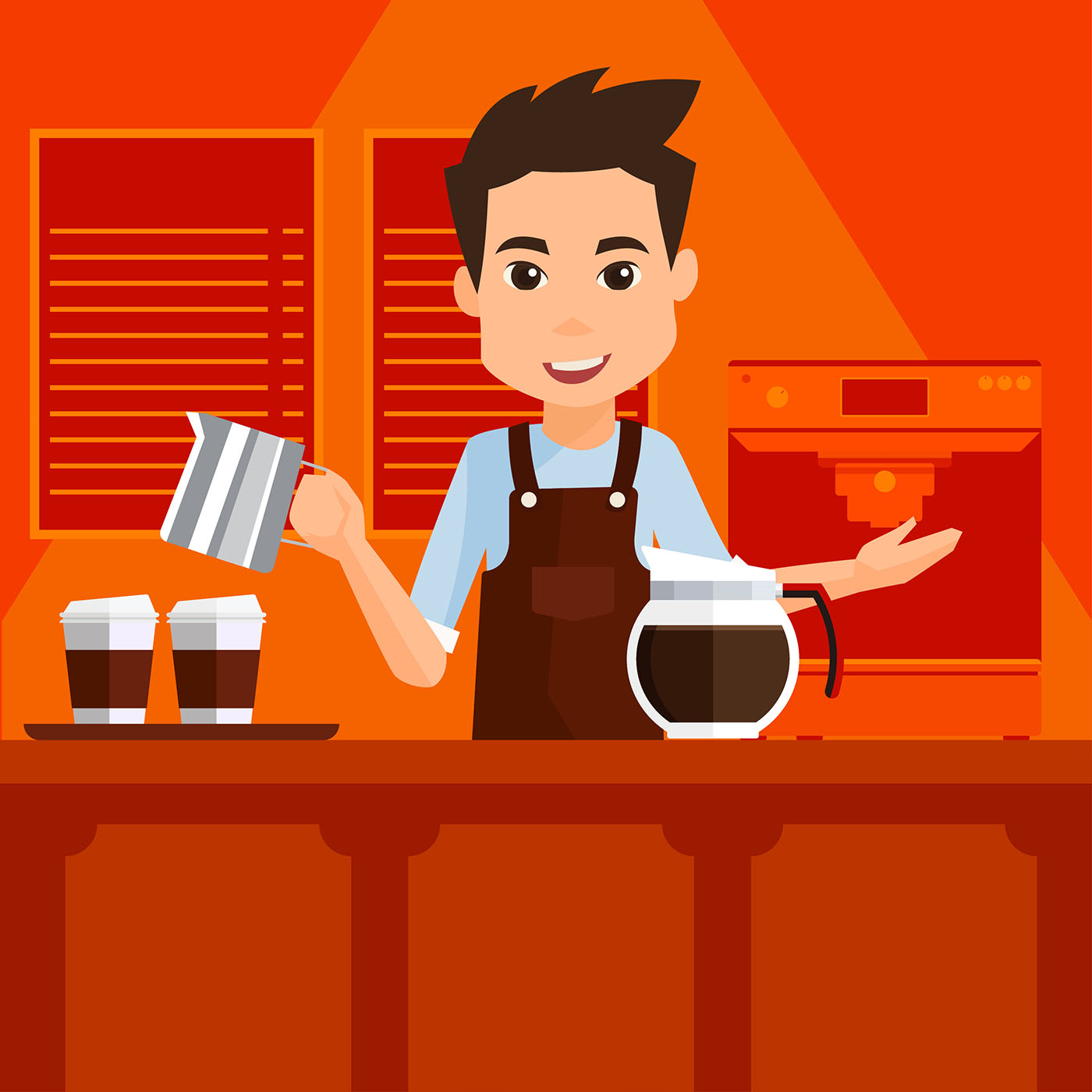 Cartoon Barista Vector Download Free Vector Art Stock