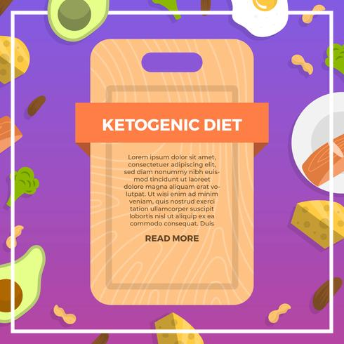 Flat Ketogenic Diet Starter Pack With Gradient Background Vector Illustration