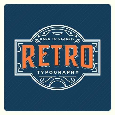 Platt Retro Typografi Med Vintage Bakgrund Vektor Illustration