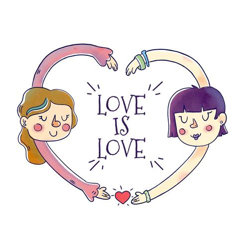 Cute Couple Girls With Love Cita al mes del orgullo