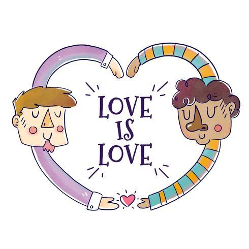Söt Män Par Med Kärlek Citat Att Pride Månad