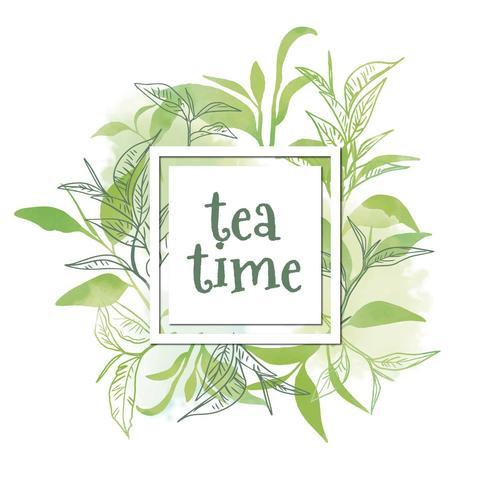 Hojas de té de acuarela a la hora del té