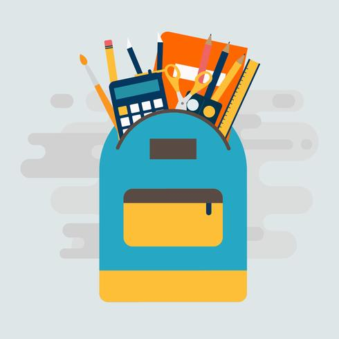 Backpack With School Supplies Vector Illustration