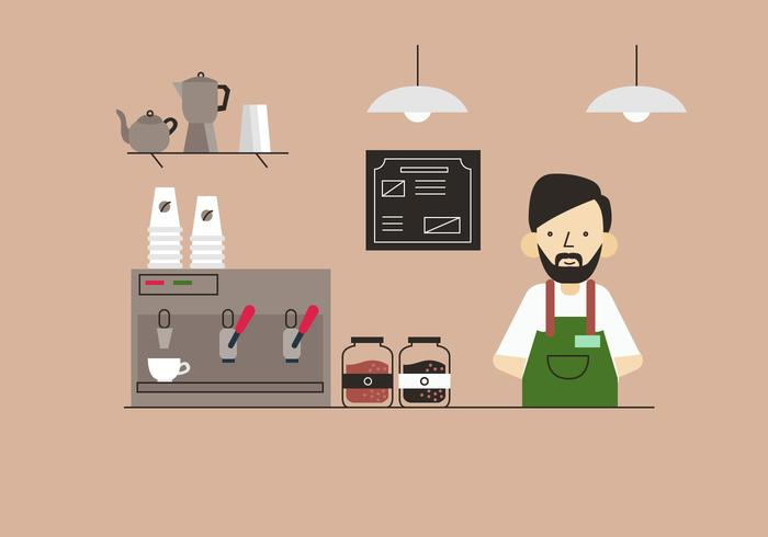 Barista à café Shop Table plat Vector Illustration de fond