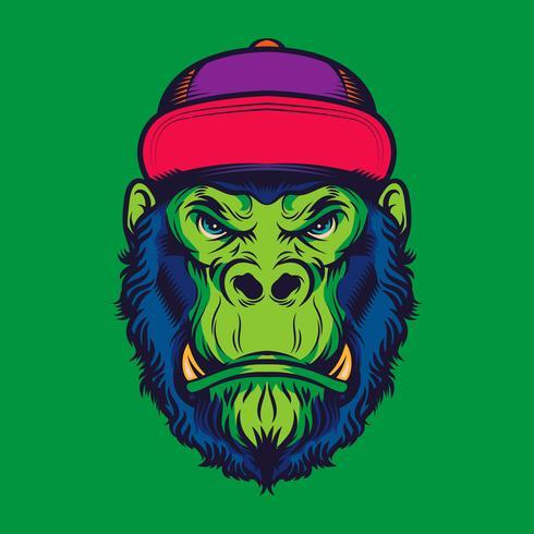 Hipster Gorilla Head vieja escuela tatuaje ilustración