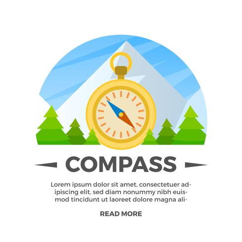 Flat Compass With Landscape Badges  Background Vector Illustration