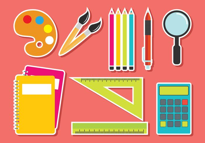 Conjunto de vectores de útiles escolares
